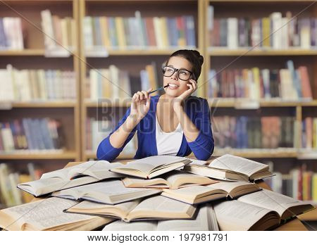 Woman in Library Student Study Opened Books Girl Studying and Thinking School Education