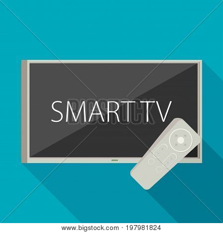 Vector Smart Tv Concept - Illustration In Flat Style With Apps And Video Player On Screen And Remote