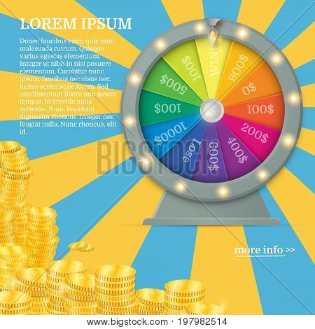 Fortune spinning wheel in flat vector style. Gambling concept, win jackpot in casino illustration