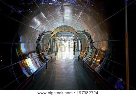 SEOUL, SOUTH KOREA - CIRCA JUNE, 2017: Namsan Seoul Tower 1F- OLED Tunnel. OLED panels are displayed all around the Namsan Seoul Tower from level 1 to 4.