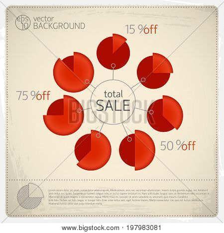 Total sale diagram set with seven red isolated diagrams and percentage ratio around big circle total sale vector illustration