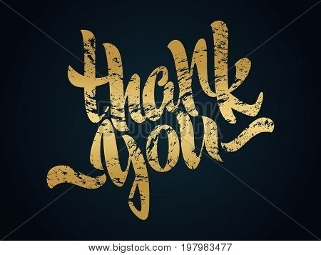 Thank you lettering. Hand written Thank you poster. Modern golden hand lettering