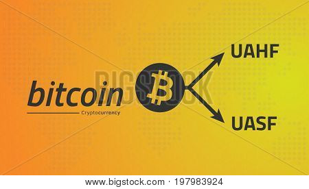 Bitcoin logo and fork arrows. UASF UAHF. Editable eps10 Vector.