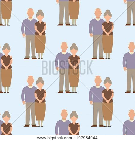 People happy senior couple seamless pattern relationship characters lifestyle vector illustration. Relaxed friends group adult together romantic casual vacation retirement human.