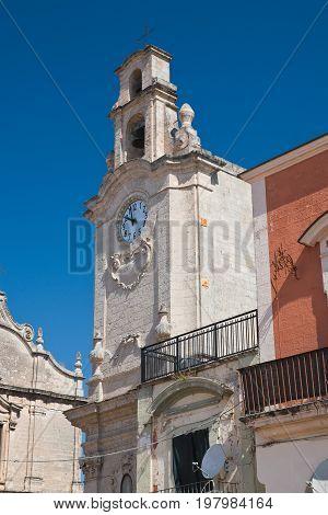 Perspective of clocktower of Massafra. Puglia. Italy.