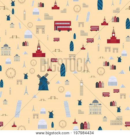 Euro trip tourism travel design famous seamless pattern building international vacation tours advertisement. Outdoor architecture vacation travelling concept flat design vector illustration.