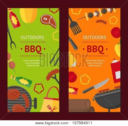 Barbecue and Grill Banner Vecrtical Set for Home Party or Restaurant. Products and Kitchen Tools Flat Design Style Vector illustration