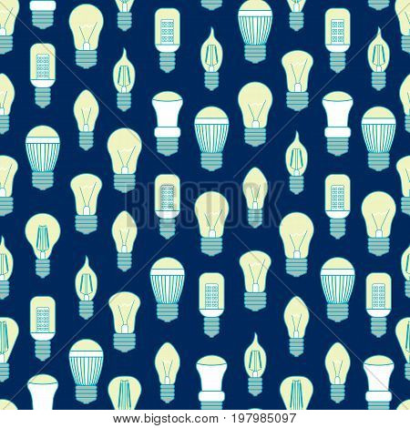 Different Lamp or Light Bulbs Line Background Pattern on a Blue for Web. Vector illustration
