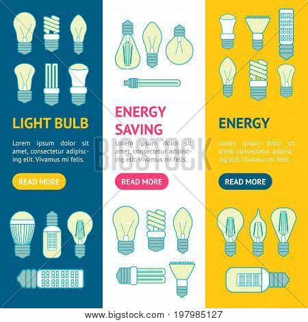 Different Lamp or Light Bulbs Line Icons Banner Vecrtical Set for Web. Vector illustration