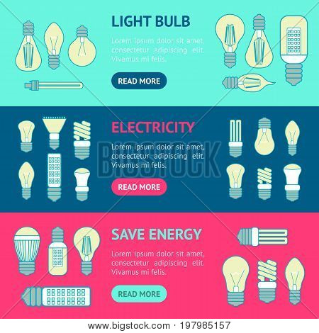 Different Lamp or Light Bulbs Line Banner Horizontal Set for Web. Vector illustration
