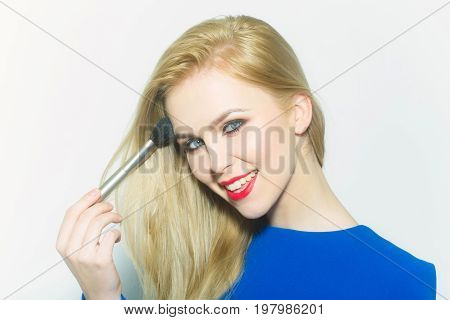 Happy Girl With Blond Long Hair Smiling With Red Lips