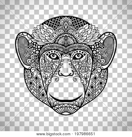 Monkey face with ethnic motifs. Hand drawn monkey head isolated on transparent background. Vector illustration