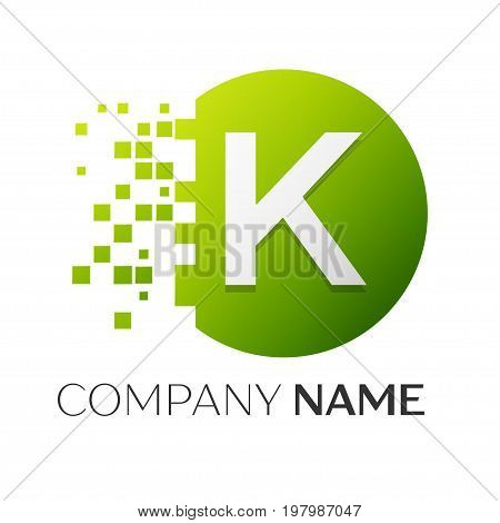 Realistic letter K vector logo symbol in the colorful circle with shattered blocks on white background. Pixel Motion. Vector template for your design