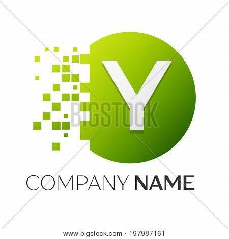 Realistic letter Y vector logo symbol in the colorful circle with shattered blocks on white background. Pixel Motion. Vector template for your design