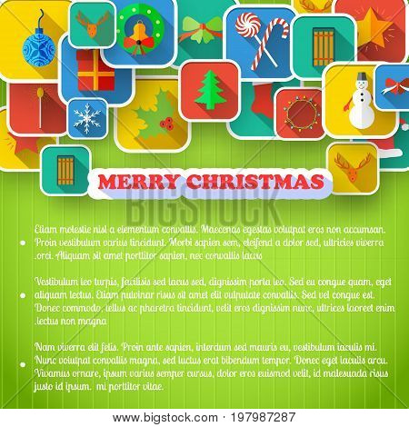 X-mas greeting card with text and set of holiday icons on green textured background vector illustration