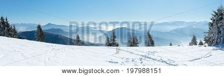 Panoramic view snowcapped mountains, Alpine mountains in winter, Winter landscape, Beautiful winter landscape, European mountain panorama