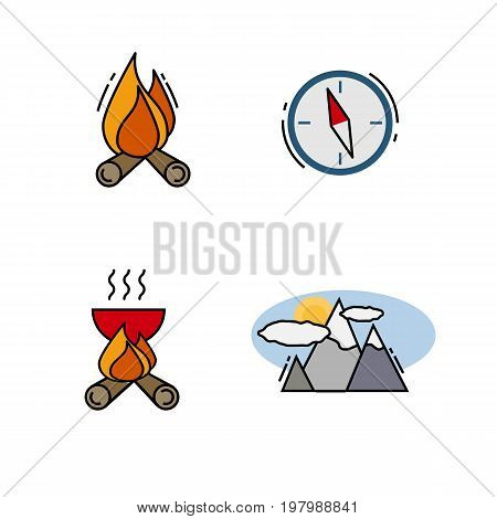 Traveling and camping icons for Web and Mobile App. Vector illustration