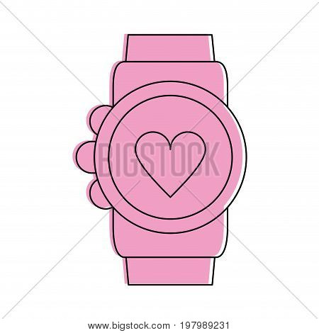 heart rate wrist monitor icon image vector illustration design  pink color