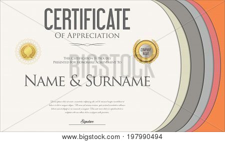 Modern Colorful Certificate Or Diploma Template Vector 3.eps
