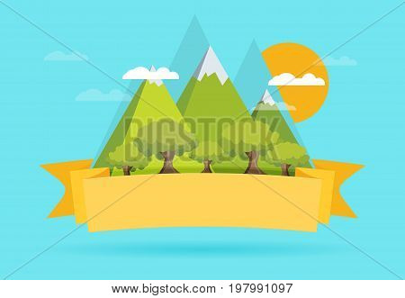 Mountain flat design concept  in vector background