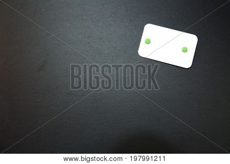 Blackboard (slate) with white, blank writable notepad