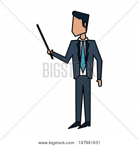 businessman doing presentation with stick  avatar icon image vector illustration design