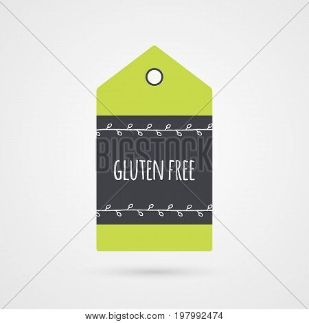 Gluten free label. Food icon. Vector green gray and white shopping tag sign with twigs isolated. Illustration symbol for product packaging healthy eating celiac disease store shop menu logo