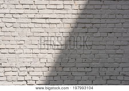Full Frame Of White Brick Wall Background With Shadow And Sunlight