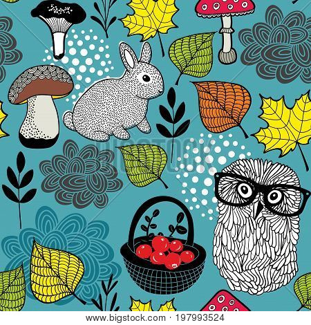Seamless background with cute rabbit and clever owl in eyeglasses. Vector illustration of nature images.