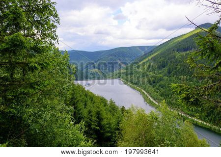 View of the lower reservoir of the pumping hydroelectric power station in the Czech Republic. Mountain landscape