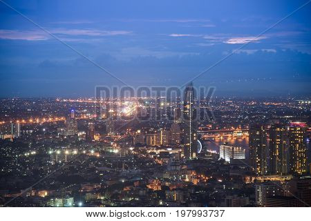 Bangkok city night view with main traffic.Highway traffic beautiful at Night Bird Eye View in bangkok Bangkok Thailand