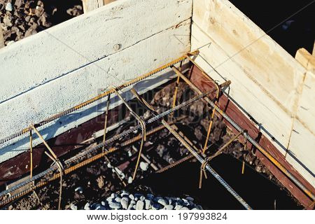 Industrial Construction Site, Cement In Foundation And Reinforcement Of Steel Bars.