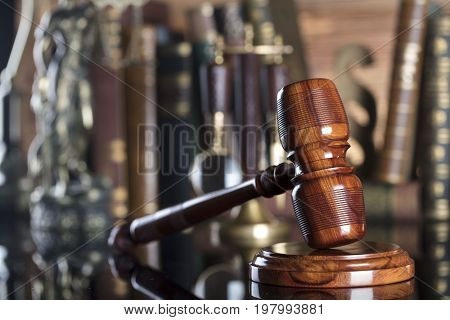 Law symbols.Law code. Lawyer theme. Judge wooden gavel. Place for typography.