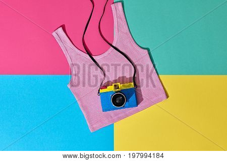 Fashion Film Camera. Hot Summer Vibes. Pop Art. Hipster Clothes Set, Trendy Top. Urban summer Outfit. Creative Retro Design camera. Bright Sweet fashion Style. Minimal Fun. Vanilla Pastel Colors