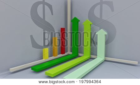 3D rendering. Stylized image chart in a coordinate system. Growing bar graphs. The arrows are showing growth. To illustrate the economic and financial processes. Profit growth and well-being.