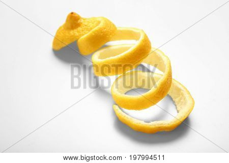 Lemon twist on white background