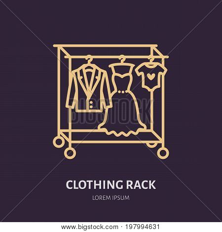 Wedding dress, men suit, kids clothes on hanger icon, clothing rack line logo. Flat sign for apparel collection. Logotype for laundry shop, dry cleaning, retail store.