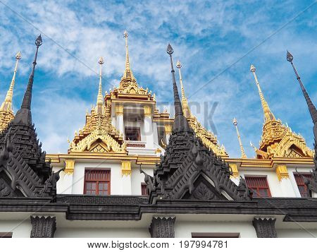 Bangkok famous place temple Iron Palace Loha Prasat in the area of Wat Ratchanatdaram (Royal Niece). This temple is one of the most attractive landmark in Bangkok Thailand.