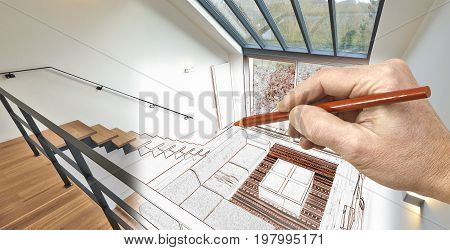 Drawing Renovation Of A Modern Living Room With Large Windows