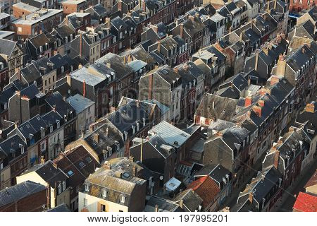 Aerial view of crowded buildings in Le Treport a commune in Upper Normandy in the north of France.