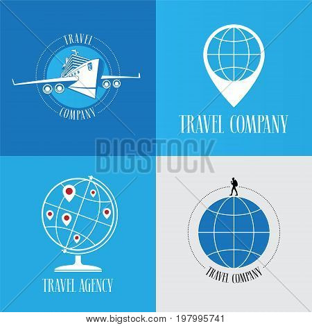 Set of travel agency vector logo emblem. Globe with pins plane graphic design element for traveling and vacations concept