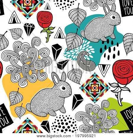 Endless pattern with cute animals and abstract elements. Vector seamless illustration for print.