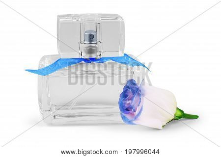 Perfume with blue rose on white background transparent bottle