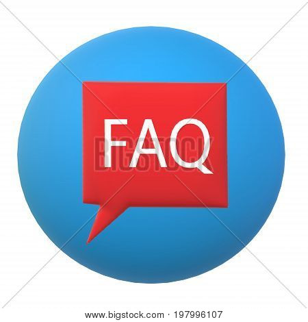 3D FAQ on white background. 3D FAQ sign.