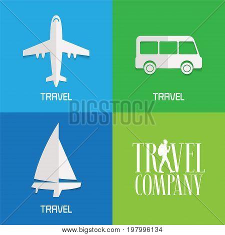 Set of vector illustration logos for travel agency. Concept design with airplane bus boat for air tickets selling traveling by place