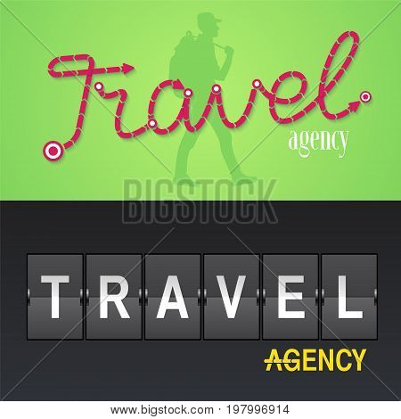 Set of travel company vector logo icon. Design with airport board and sign Travel Agency trekker. Tourism concept template elements