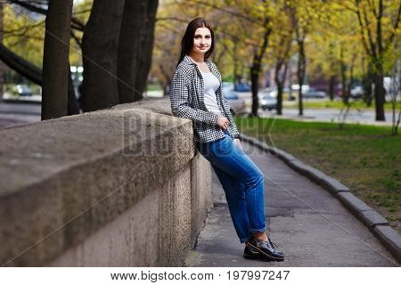 Young Pretty Stylish Smiling Woman Wearing Fashionable Shortened