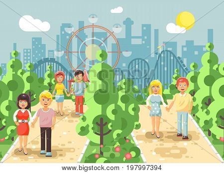 Stock vector illustration walk stroll promenade couples, men and women on date, lovers, St. Valentine s Day, alley pavement amusement park outdoor, roller coaster switchback background in flat style