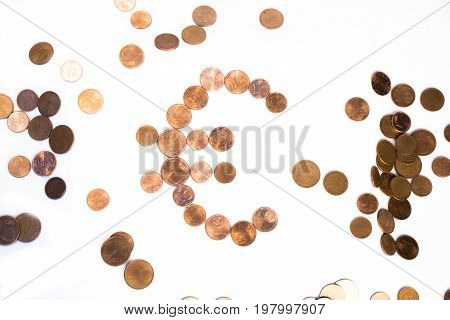Euro coins collection set isolated on white backgound