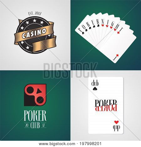 Set of original poker casino vector logo signs. Nonstandard design elements with cards suits casino chips for poker club